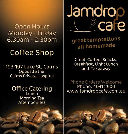 Jamdrop Cafe Cairns Menu Click for Large View